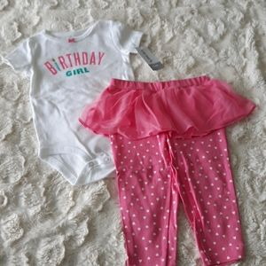 Baby girl carters birtday 2 piece outfit 12m pink
